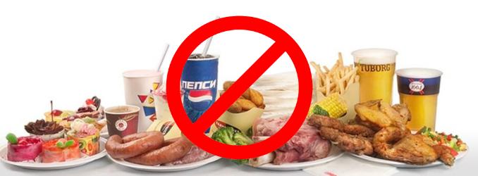 Исключение вредной пищи для похудения